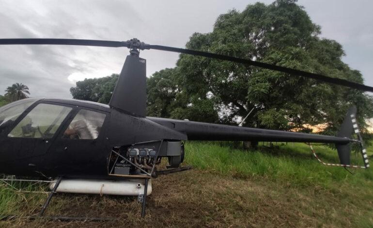 PM apreende helicóptero em situação irregular que pousou na linha 627