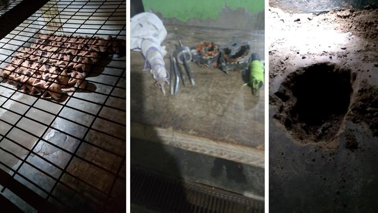 FUGA: Presos tentam fugir perfurando muro com eixos de ventilador
