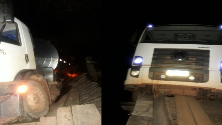 PERIGO: Ponte quebra com peso de caminhão e prejudica moradores
