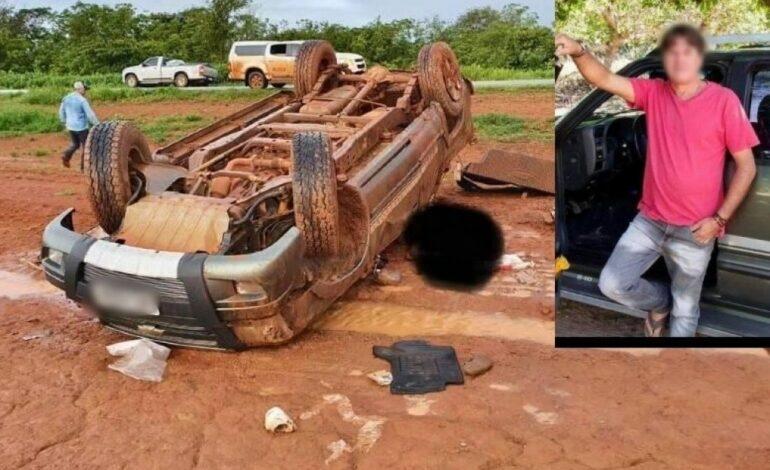 """Após capotar, motorista é arremessado e morre 'esmagado"""" pelo próprio carro; na BR-364"""