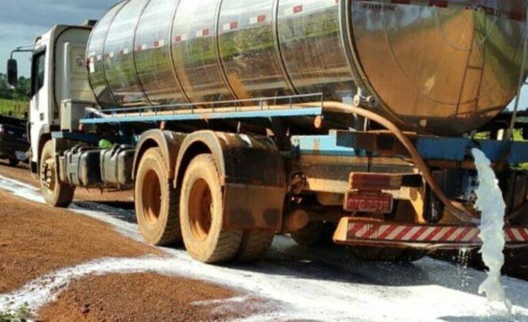 Dez mil litros de leite são derramados durante protestos de pecuaristas de leite, em Rondônia