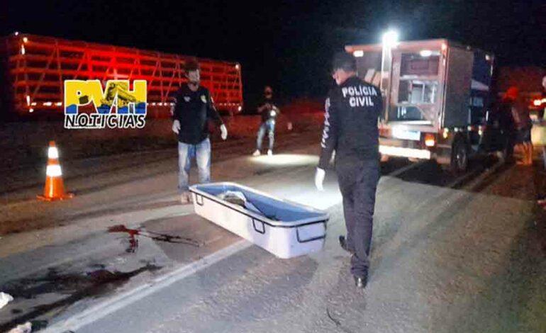 Andarilho morre atropelado por carreta na BR-364